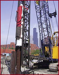 dawson hph650 hydraulic hammer and steel case foundation chicago state place project